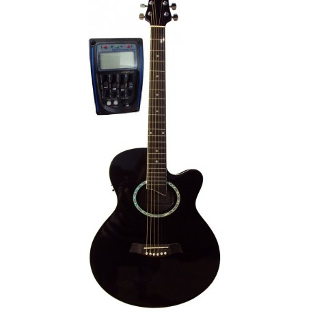 C331.646EQBK Guitarra Electroacustica Mini Jumbo tipo APX NEGRA